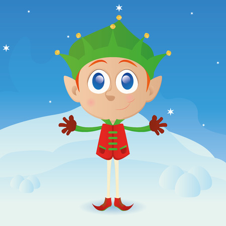 winter clothes: an isolated elf with winter clothes on a winter background Illustration