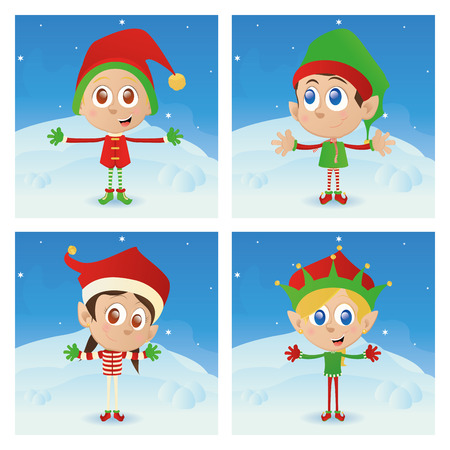 elfs: a set of different christmas elfs with different winter clothes Illustration