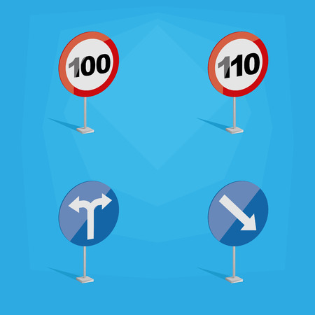 limits: a set of colored traffic signals with different speed limits and icons Illustration