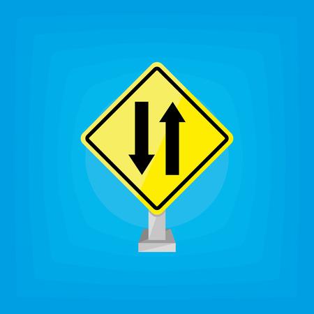 un signal de signalisation jaune isolé sur un fond bleu Vecteurs