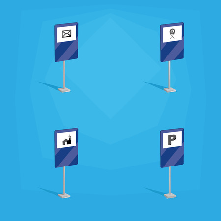 signals: a set of blue traffic signals with different icons