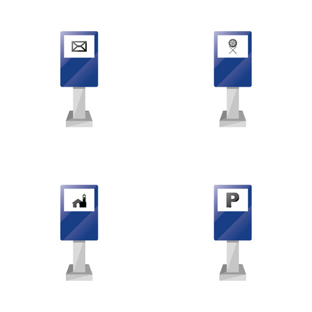 a set of blue traffic signals with different icons Vector