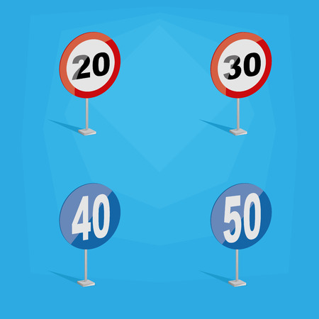 limits: a set of colored traffic signals with different speed limits Illustration