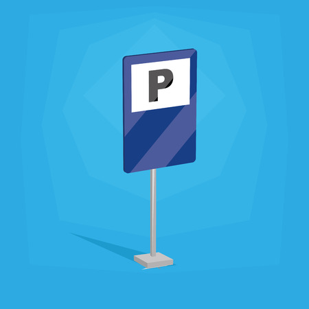 an isolated blue traffic signal with a parking icon Vector