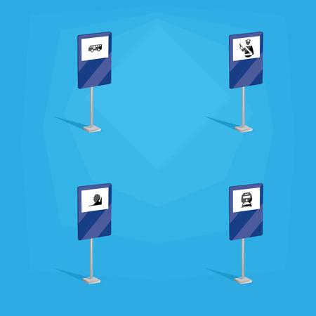 se�ales transito: un conjunto de se�ales de tr�fico de color azul con diferentes iconos Vectores