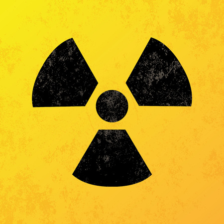 a yellow background with a black nuclear icon Vector