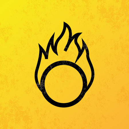 flammable: a yellow background with a black flammable icon
