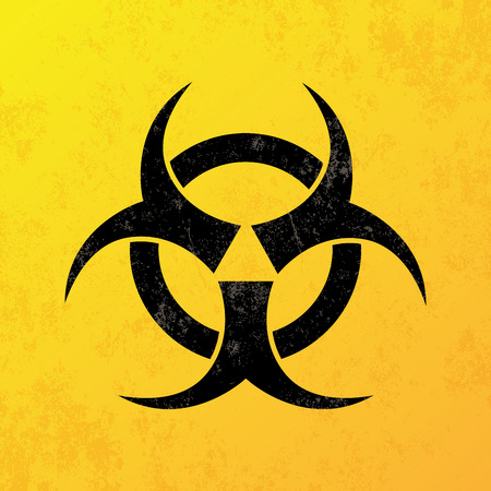 a yellow background with a black biohazard icon