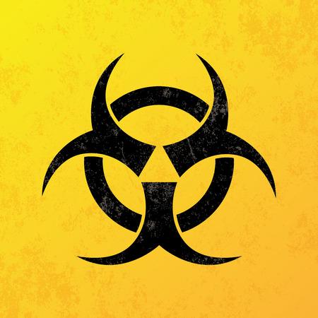 se�alizacion de seguridad: un fondo amarillo con un icono de riesgo biol�gico negro