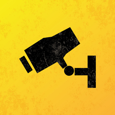 symbol vigilance: a yellow background with a black vigilance camera icon Illustration