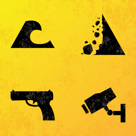 symbol vigilance: a set of black icons on a yellow background