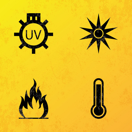 a set of black icons on a yellow background