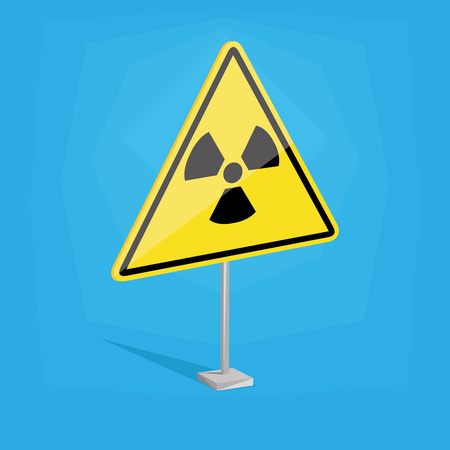 an isolated yellow traffic signal with a nuclear icon Vector