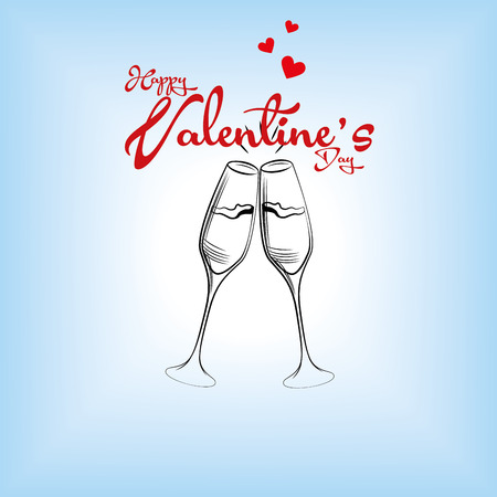 pair of glasses: a pair of wine glasses and text with hearts for valentines day