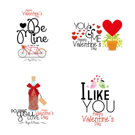 a set of different styles of text with different elements for valentines day Vector