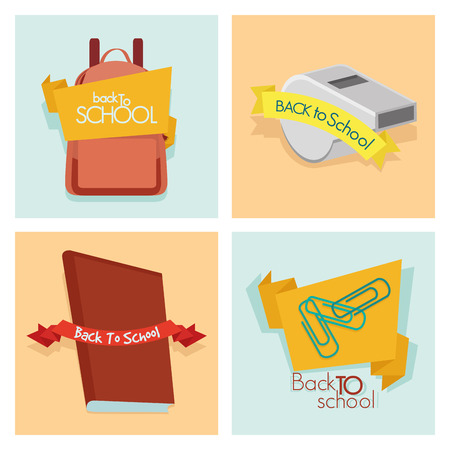 colored backgrounds: a set of different school supplies on different colored backgrounds