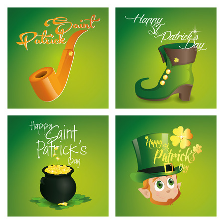 the irish image collection: a set of colored backgrounds with text and different traditional elements