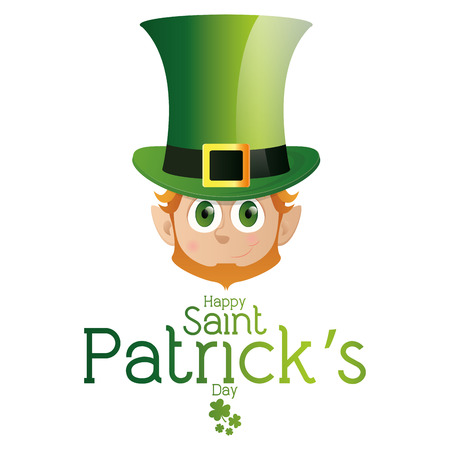 clover face: an isolated face of an irish elf and text for patricks day Illustration