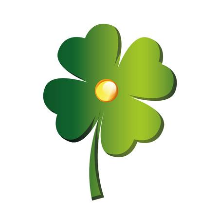 an isolated green clover for saint patricks day Vector