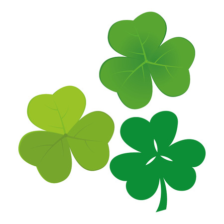a set of clovers on a white background for patricks day Vector