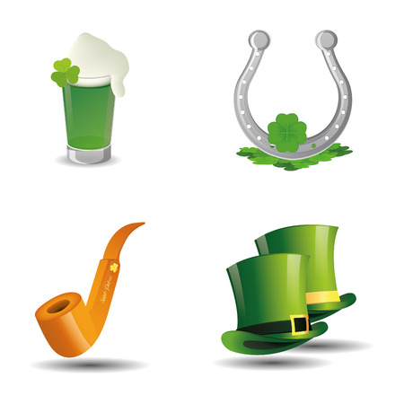 a set of different traditional elements for patricks day Vector