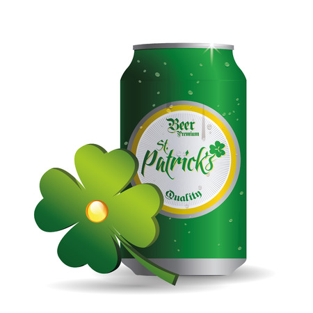 an isolated can of beer and a clover for patricks day Vector