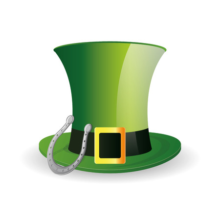 an isolated traditional hat and a horseshoe for patricks day Vector