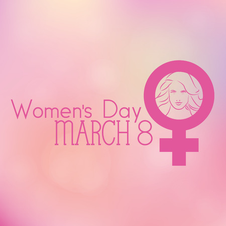 simbolo de la mujer: un fondo de color con un símbolo de las mujeres y una cara feliz mujer