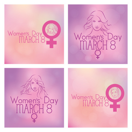 A Set Of Colored Backgrounds With Text Happy Women And Women