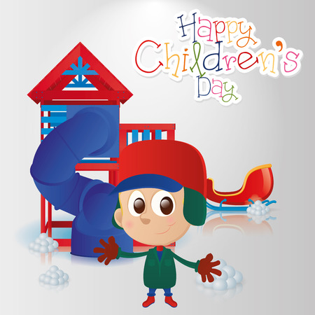 a winter background with text, toys and a boy Vector