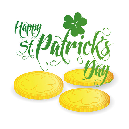 a group  of golden coins and text for patricks day Vector