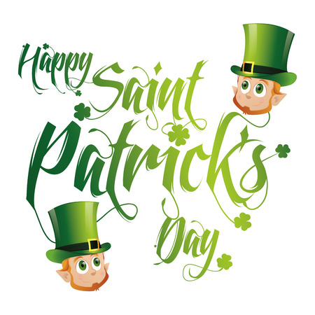a green text and some irish elves with traditional hats for patricks day Vector