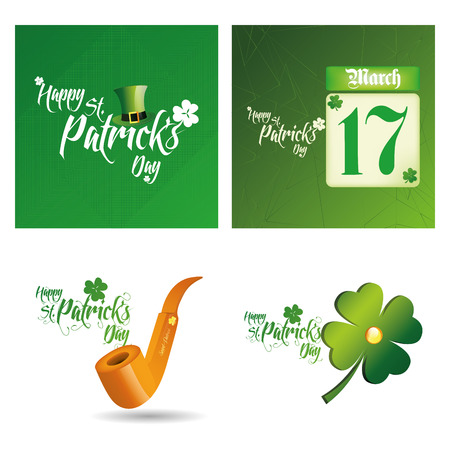 a set of backgrounds and traditional elements with text for patricks day Vector