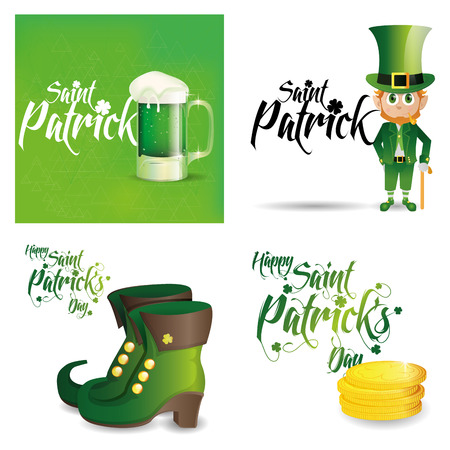 a set of traditional elements and a background with text for patricks day