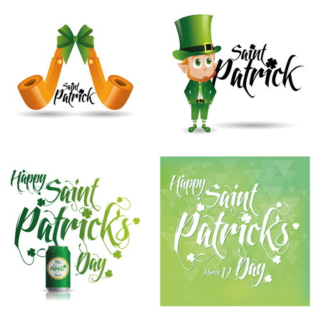 a set of traditional elements and a background with text for patricks day Vector