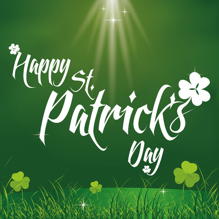a green background with text and clovers for patricks day Vector