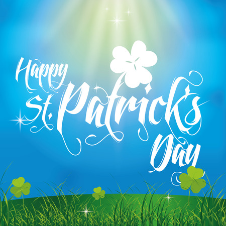 a colored background with text and clovers for patricks day Vector