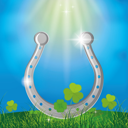 a colored background with a horseshoe for patricks day Vector