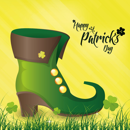 a yellow background with traditional boots and text for patricks day Vector