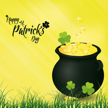 a yellow background with a pot with coins and text for patricks day Vector