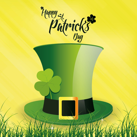 a yellow background with a traditional hat and text for patricks day Vector