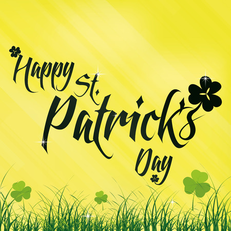 a yellow background with text for patricks day Vector