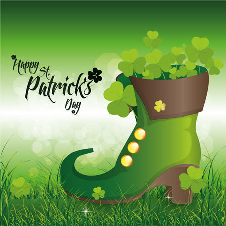 a green background with traditional boots and text for patricks day Vector