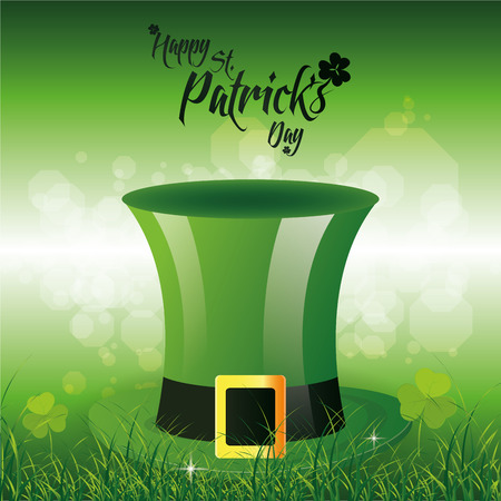 a green background with a traditional hat and text for patricks day Vector