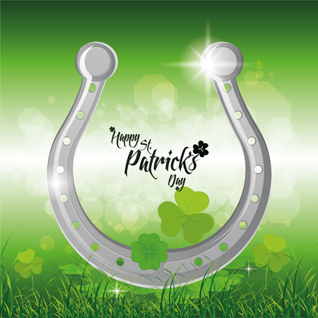a green background with a horseshoe and text for patricks day Vector