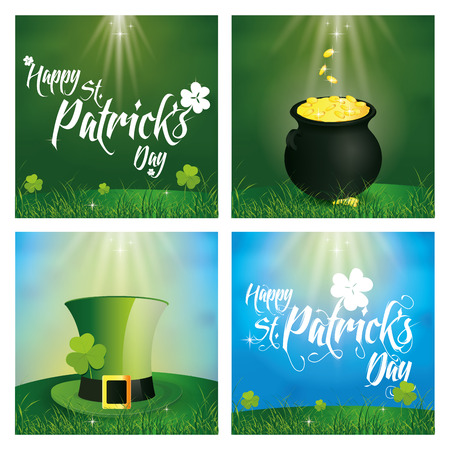 the irish image collection: a set of backgrounds with text and different traditional elements for patricks day Illustration