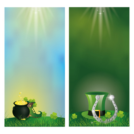 a set of backgrounds with text and different traditional elements for patricks day Illustration