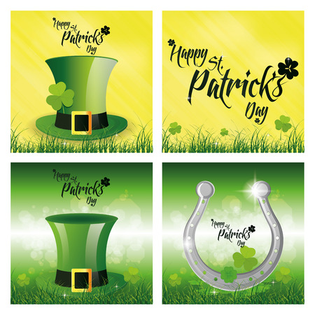 a set of backgrounds with text and different traditional elements for patricks day Vector
