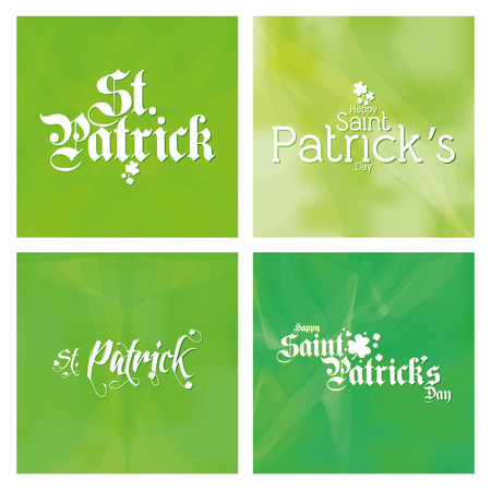 a set of green textured backgrounds with text for patricks day Vector