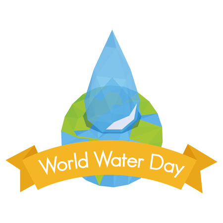 our isolated planet with a drop of water and a ribbon with text Vector